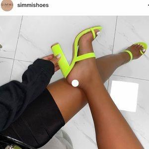 Neon heel sandals